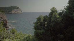 Gulf sea shore with a steep slope. Coastal seascape. Montenegro. The Balkans Footage