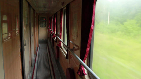 Interior of old railway carriage in Ukraine Footage