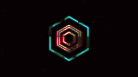 Distort Glitch Hex Logo Reveal Intro - Distorted Video Logo Sting Animation After Effects Template