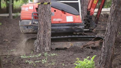 Excavator with bucket rides Footage