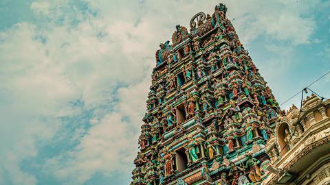 Beautiful Hindu Temple Statue Architecture Cloud Time Lapse Footage