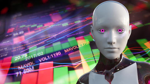 4K Artificial Intelligence Algorithm Trading Stock Market Concept 5 Animation