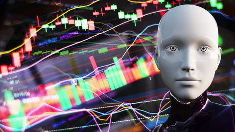 4K Artificial Intelligence Algorithm Trading Stock Market Concept 3 Animation