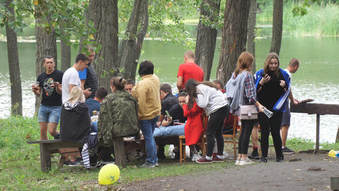Youth Teens at a picnic party near the lake Footage