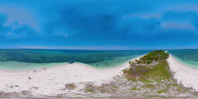 Travel concept with a sandy beach and blue sea. 360VR. Balabac, Palawan VR 360° Video