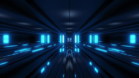 clean style blck tunnel corridor background with blue glow background 3d Animation