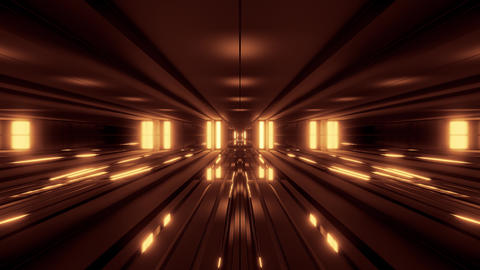 clean style blck tunnel corridor background with golden glow background 3d Animation