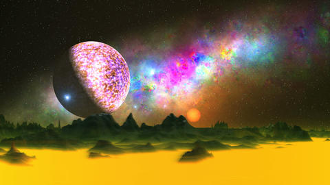 UFO, Moon and Beautiful Nebula over an Alien Planet Animation