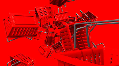 Red Shopping baskets on red background Animation