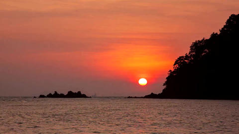 Sunset on the sea at Andaman sea , Thailand Footage
