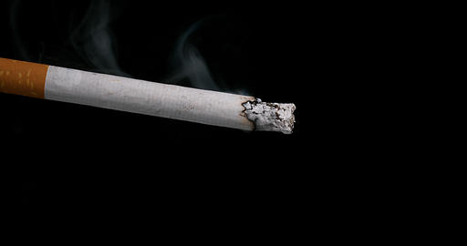 Cigarette that Consumes on Black Background, Time Lapse 4K Live Action