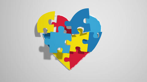 heart made of an animated puzzle, ideal for themes concerning the theme of Live Action