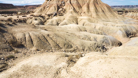 Rock formation in Bardenas Reales park, the biggest desert in Europe. Bardenas Live Action