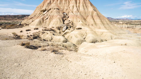 Rock formation in Bardenas Reales park, the biggest desert in Europe. Bardenas Footage