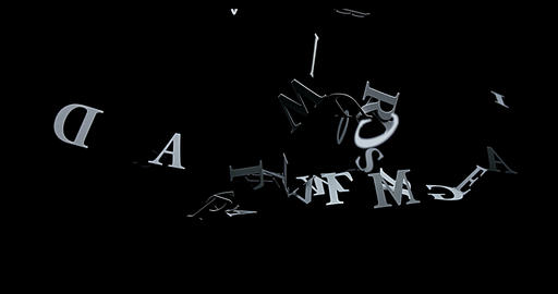 Letters falling against Black Background, Slow Motion 4K Live Action