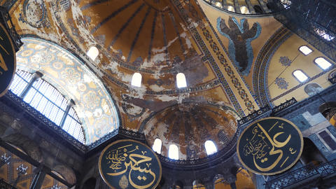 Istanbul Hagia Sophia indoor ceiling view Live Action