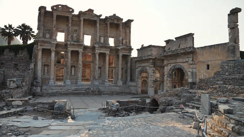 Beautiful old roman ruins at archaeological site Live Action