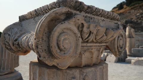 Old roman column close up at the roman ruins Footage