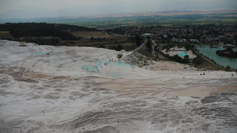 Beautiful top view of Pamukkale in Turkey Live Action