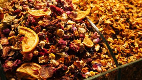 Organic natural tea fruits close up Live Action