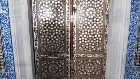 Old traditional turkish door filled with mosaic Footage