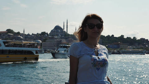 Tourist girl in Istanbul with mosque and beautiful view in the background Live Action