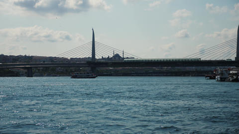 Bridge in Istanbul over the sea - city infrastructure Live Action
