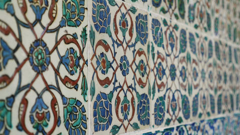 Old turkish colored ceramic close up Live Action