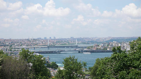Istanbul Bosphorus strait with bridges and boats Live Action