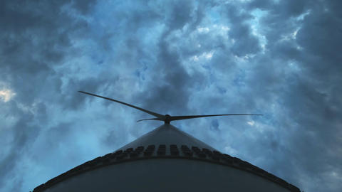 Close-up: Wind turbines produce environmental energy. The concept of Live Action