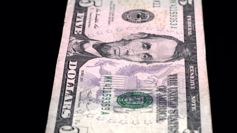 Currency Scan Low Depth of Field USD 5 front Footage