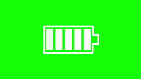 Battery icon charging on green background, seamless loop. 4k Animation