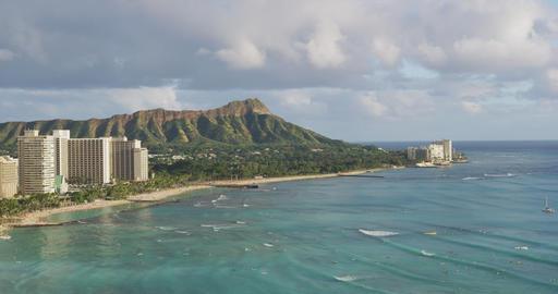 Hawaii panoramic Honolulu city travel landscape of Waikiki beach, Diamond Head Footage