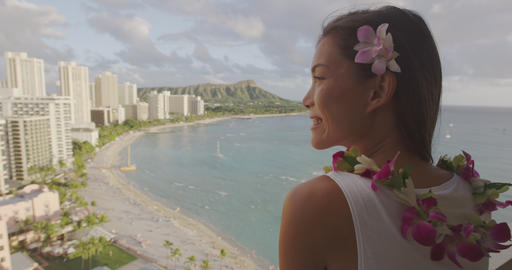 Hawaii Waikiki beach tourist in Honolulu city travel vacation in luxury resort Footage