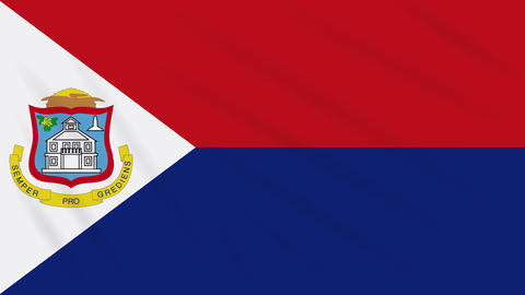 Sint Maarten flag waving cloth, background loop Animation