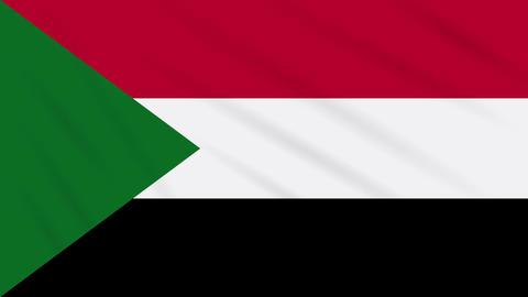 Sudan flag waving cloth, background loop Animation