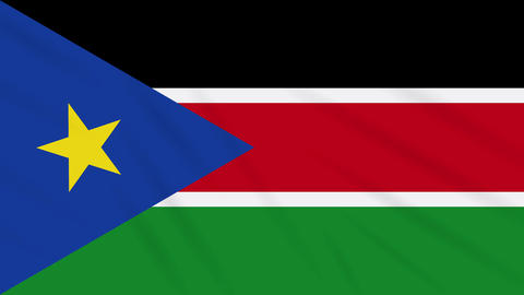 South Sudan flag waving cloth, background loop Animation