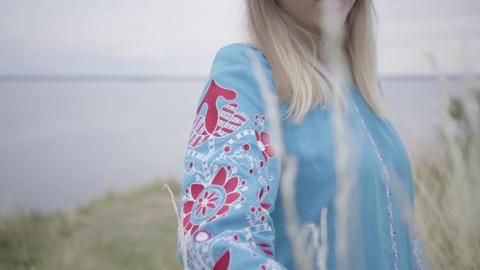 Portrait carefree caucasian girl wearing long summer fashion dress enjoying Footage