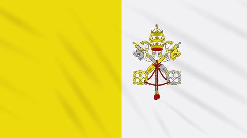 Vatican flag waving cloth, background loop Animation