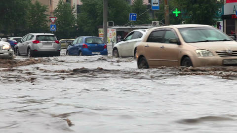 Flooding on the road after a heavy rain Footage
