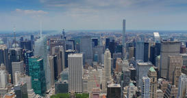 High Level View of Uptown Manhattan and Central Park Footage