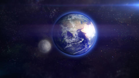 Earth and moon from space Animation