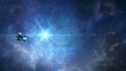 Spaceship flying through space and Alien appears Animation