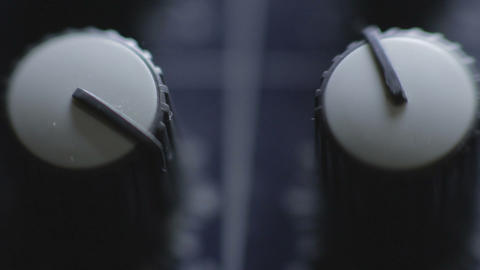 Closeup audio mixer knobs on mixer console Footage