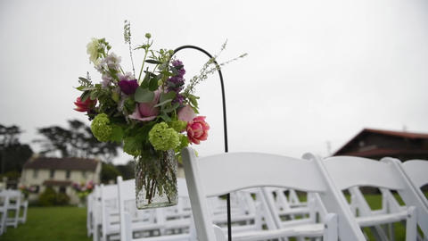 Outgoing wedding ceremony. Decor, chairs for the wedding ceremony on the lawn Live Action