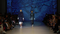 Model. Fashion show. Model on the catwalk. Woman. Girl.... Stock Video Footage