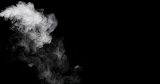 White Smoke Trail Isolated on Black Background Photo