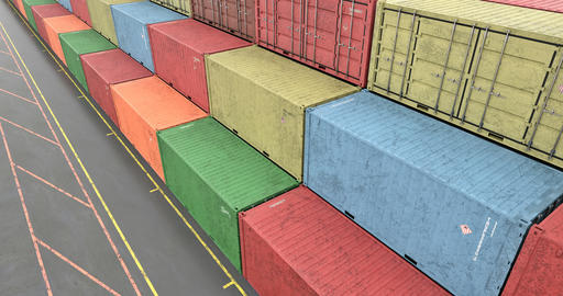 High angle view of stacked cargo shipping containers at transportation port Animation