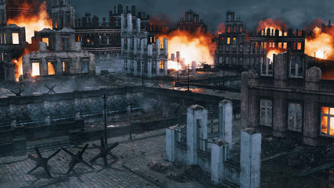 Urban battlefield scene with burning ruined buildings at night Live Action