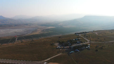 A view from the sky at the airfield of light aviation on the Klementyev mountain Live Action